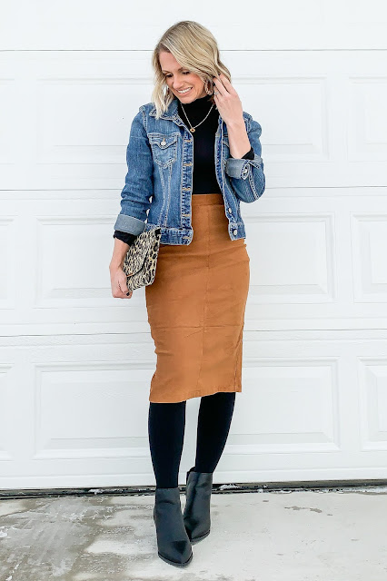 Faux suede skirt styled for winter