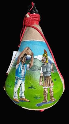 Bota de vino Pintada con romano y peñista