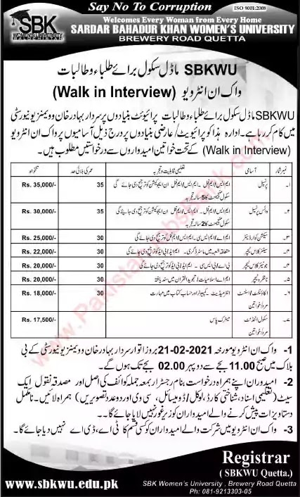 Latest Jobs in Pakistan in Sardar Bahadur Khan Women University Quetta Jobs 2021 | Walk in Interview