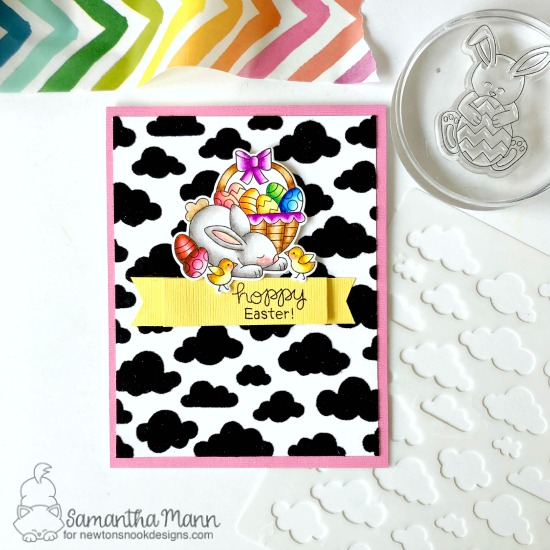 Hoppy Easter Card by Samantha Mann | Hop Into Spring Stamp Set and Cloudy Sky Stencil by Newton's Nook Designs #newtonsnook #handmade