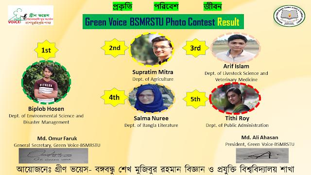 বিজয়ীদের তালিকা প্রকাশ করলো বশেমুরবিপ্রবি ' র সংগঠন গ্রীন ভয়েস