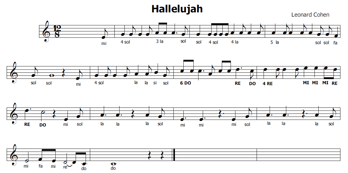 Eccezionale Musica e spartiti gratis per flauto dolce: Hallelujah ST65