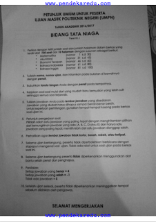 Soal UMPN 2016 TataNiaga PNB (Politeknik Negeri Bali), Soal umpn, soal umpn 2016