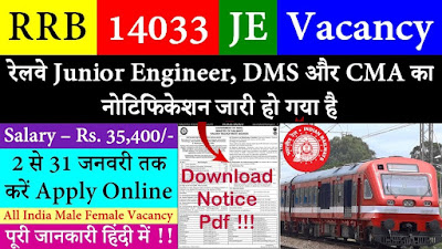 Railway Recruitment Board (RRB) Application Form 2019 for post JE, DMS & CMA