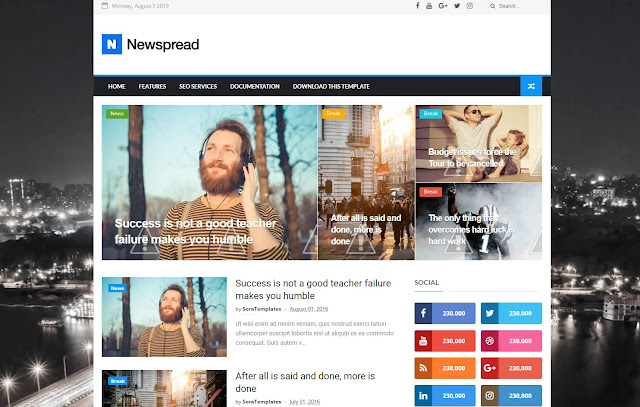 Newspread Responsive Magazine Personal Blog News Sites Tips and Tricks Blogger Template Theme