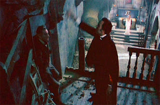 Peter Cushing and Christopher Lee go at it in the final confrontation of Dracula A.D. 1972