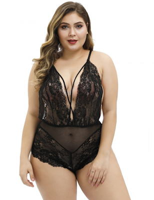 sheer lace plus size sling teddy