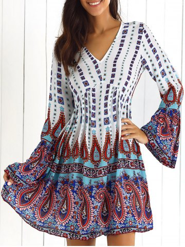 V-Neck Print Mini Dress