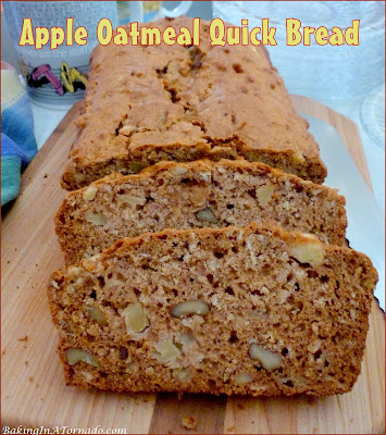 Apple Oatmeal Quick Bread, big on flavor and texture, this quick bread uses sugar substitutes, healthier oil and less eggs. | Recipe developed by www.BakingInATornado.com | #recipe #bake