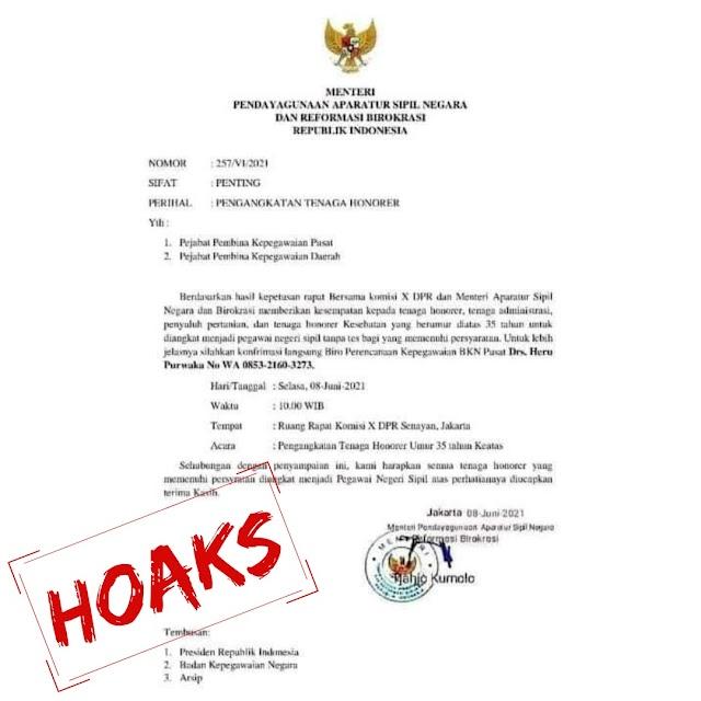 Hati-hati Beredar Surat Palsu Tentang Pengangkatan Honorer