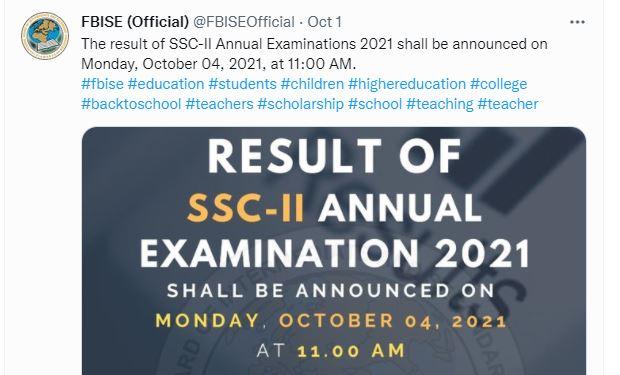FBISE Matric Result 2021 - Date Announced