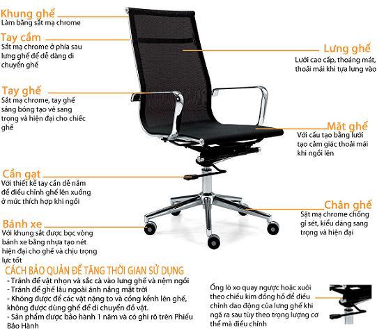 Ghế lưới văn phòng mang lại sự thoải mái, dễ chịu