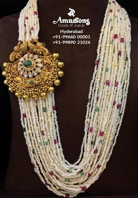 Multiple Layers Pearls Haram with Side Pendant