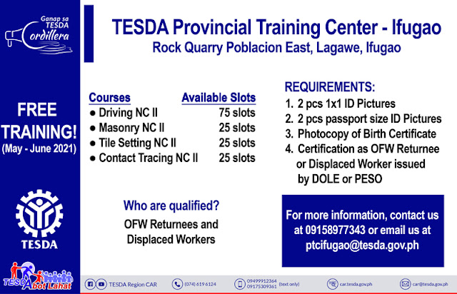 TESDA PTC Free Training