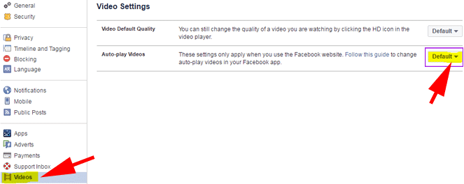 stop video autoplay on Facebook for PC
