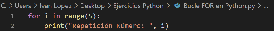 Bucle for en Python