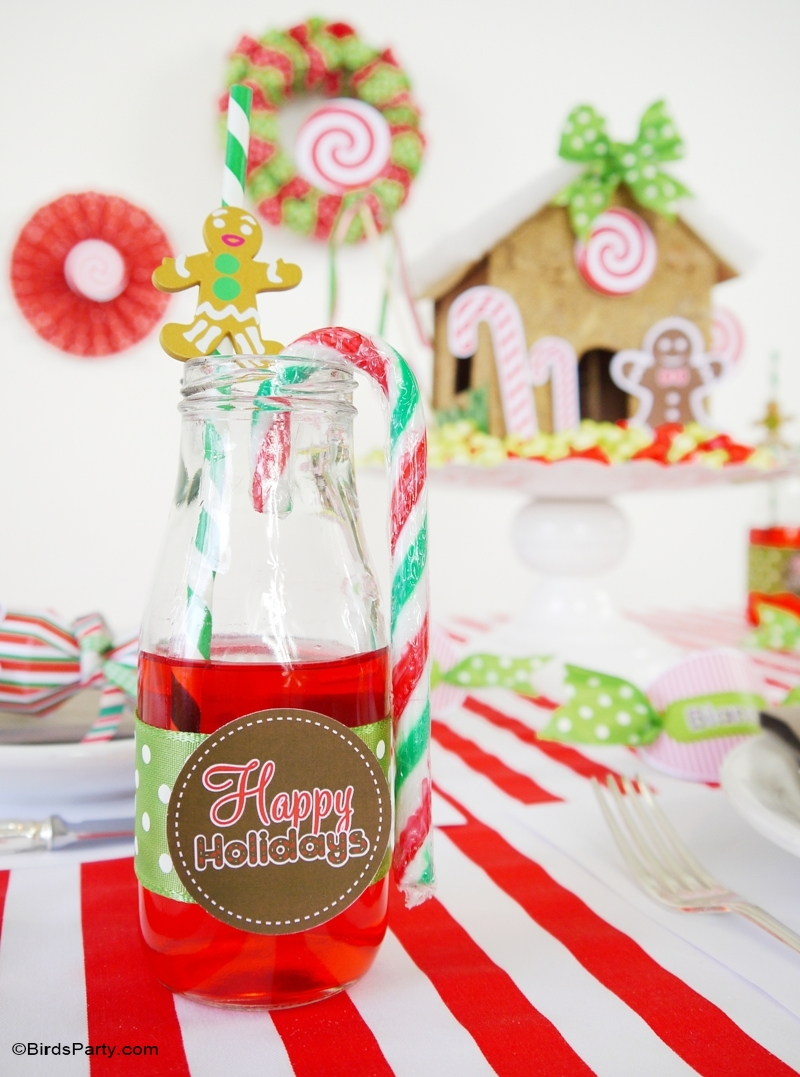 Candyland Christmas DIY Tablescape | Kids Holiday Table - BirdsParty.com