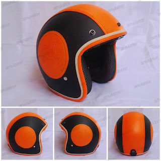 Helm Retro Classic Vespa Model Bogo Motif hitam orange