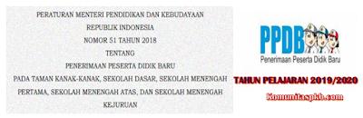 Permendikbud Nomor 51 Tahun 2018 tentang Penerimaan Peserta Didik Baru (PPDB) 2020