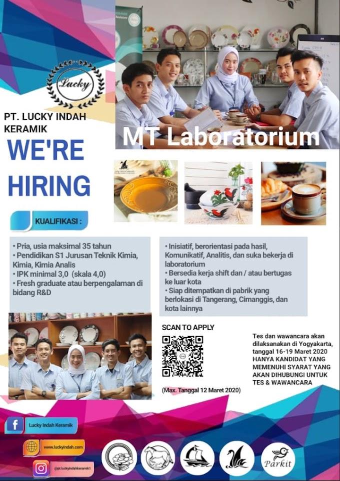 Lowongan Pekerjaan Manajeman Traine Laboratorium dan Manufacture PT. Lucky Indah Keramik