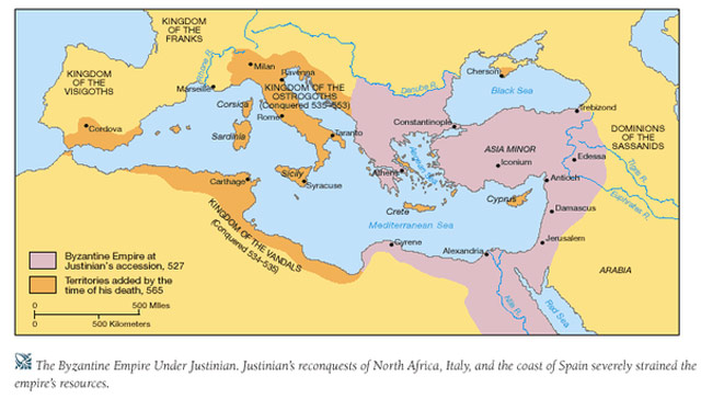 The extent of Justinian's conquests byzantium.filminspector.com