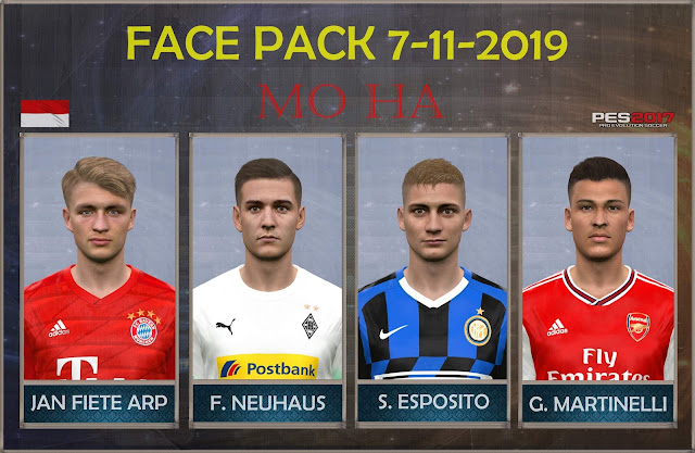 PES 2017 Faces Pack Update 7-11-2019 by Mo Ha