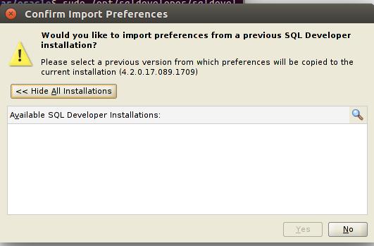 sql developer pop window during installation