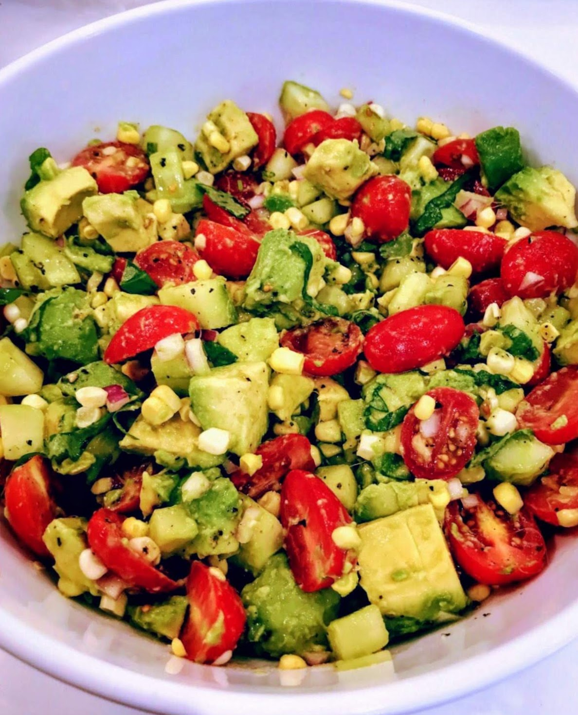 Avocado, Corn, and Tomato Salad with Basil and Jalapeños