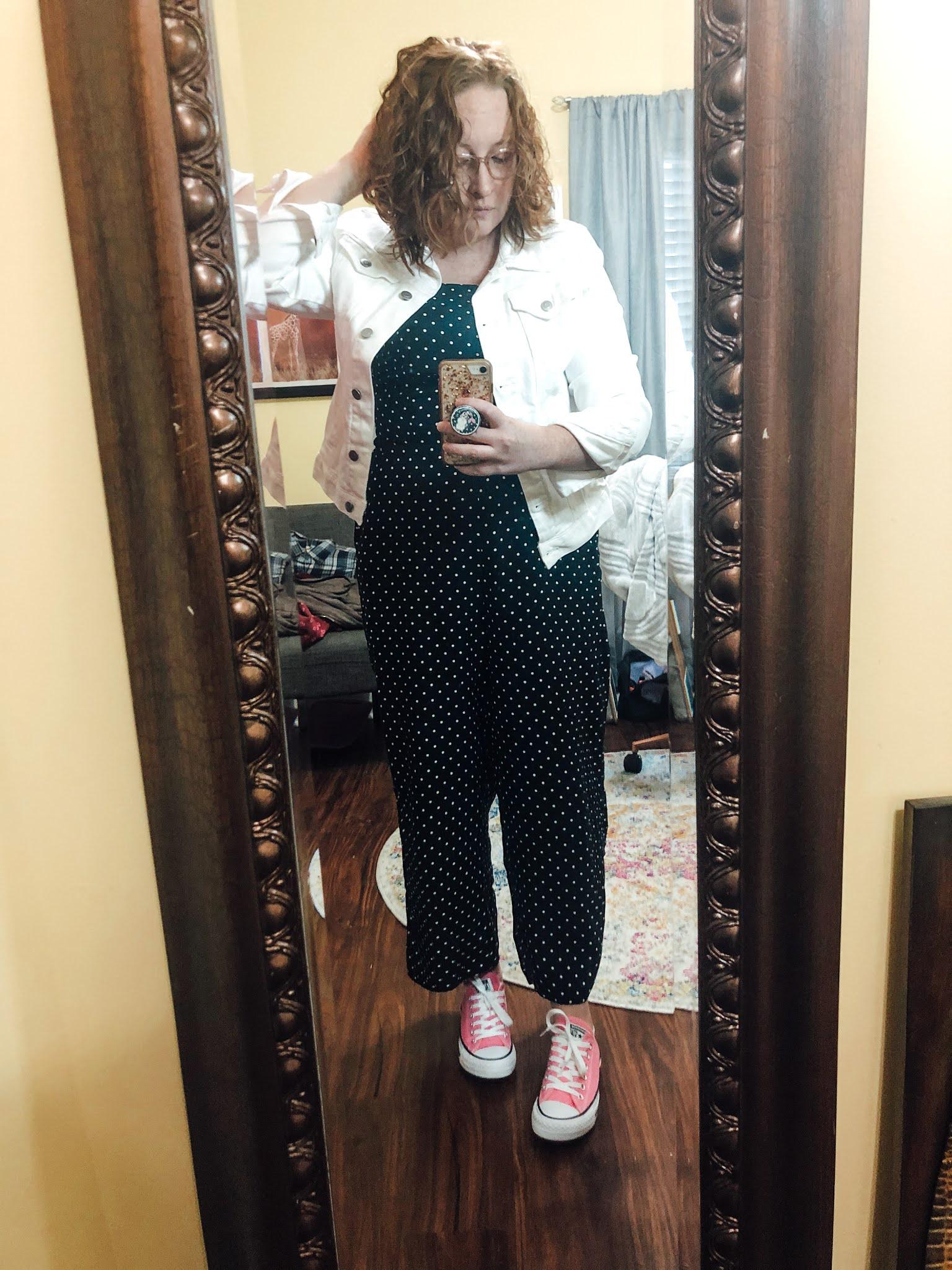 polka-dot-jumpsuit-white-jean-jacket