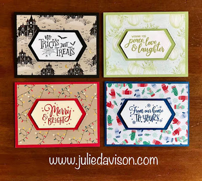 Stampin' Up! Everything Festive Holiday Cards ~ Christmas ~ Halloween ~ +Thanksgiving ~ 2019 Holiday Catalog ~ www.juliedavison.com