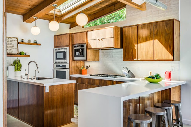 Mid century brown and white kitchen