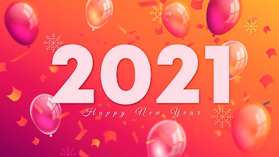 2021 Happy New Year balloons background