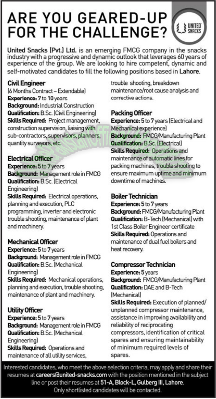 United Snacks Pvt Ltd Lahore Jobs 2016