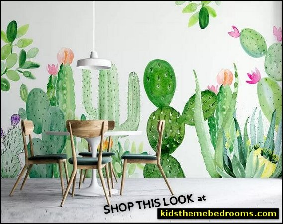 Watercolor Cactus Nursery Plants Wallpaper Wall Mural, Hand Painted Fresh Green Cactus with Flowers Wall Mural,