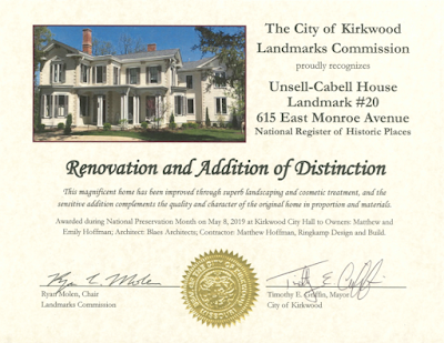BlaesDesign.com award for Unsell-Cabell house