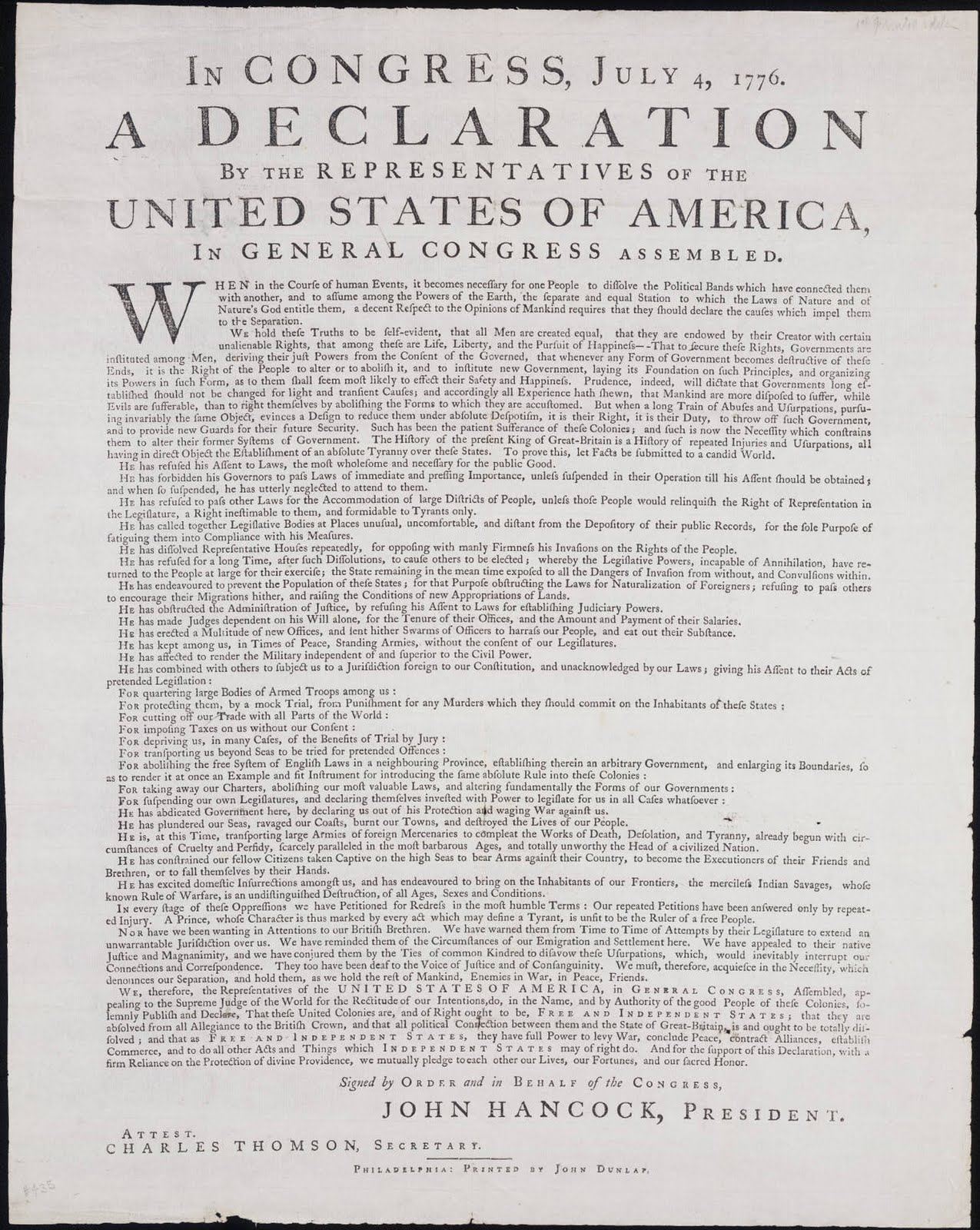 United States Declaration of Independence Dunlap Broadside