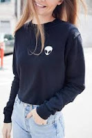 Alien Pattern Oversize Warm Crop Sweatshirt
