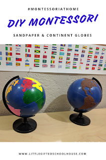 DIY Montessori Sandpaper & Continent Globe Pinterest Link, image for the pinterest post showing the 2 finished globes