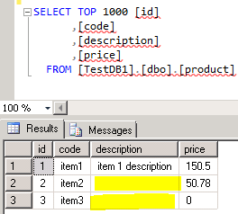 "bcp ""SELECT [code],[description],[price] FROM [TestDB1].[dbo].[product]"" queryout ""c:tmptestExtract.csv"" -c -C 1253 -t ; -S "".SQL2K14"" -T"