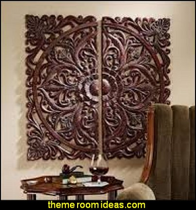 Carved Rosette Architectural Wall Sculpture exotic furniture global theme bedrooms