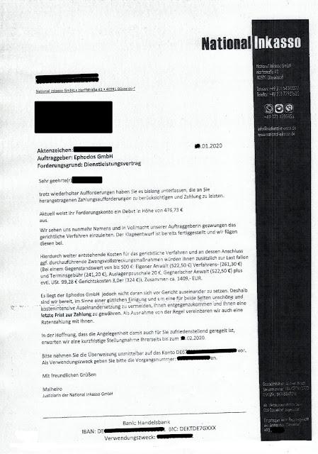 Scan: Zahlungsaufforderung / National Inkasso für Ephodos GmbH / Seite 01 / Jan 2020