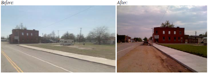 Before and After Picture of the Sidewalk to Nowhere