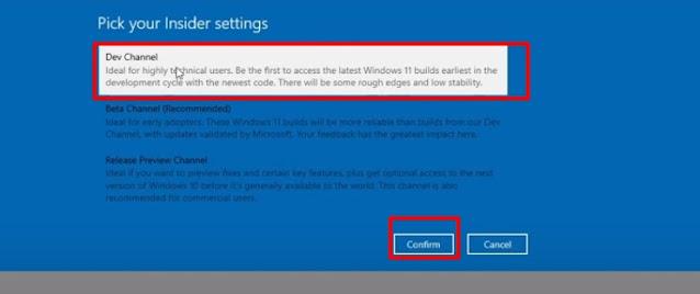 select windows insider program channel for windows 11