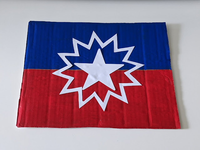 Juneteenth recycled cardboard flag craft for kids
