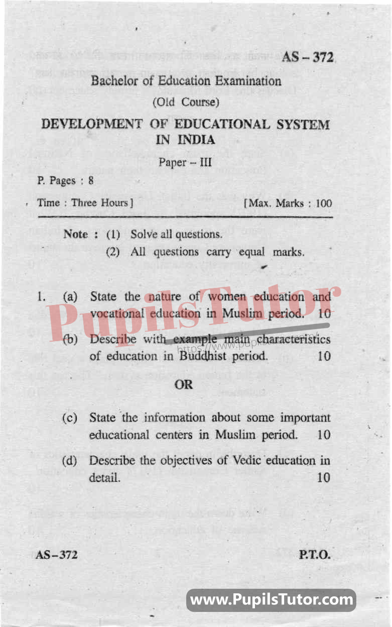 Development Of Educational System In India Question Paper In English