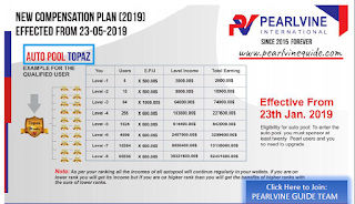 Pearlvine Auto pool Income plan - Topaz Auto Pool Income Chart