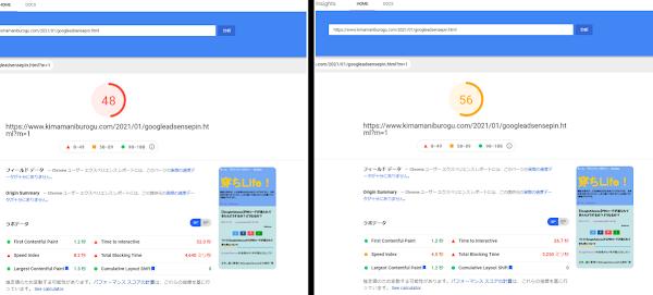 API依存型のブログカードを使用した場合と、そうで無い場合のPageSpeedInsightsの比較
