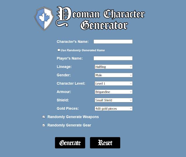 The Hero's Journey 2e Yeoman Character Generator