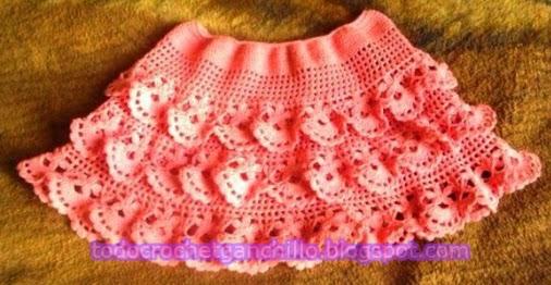 Minifalda de volados al crochet