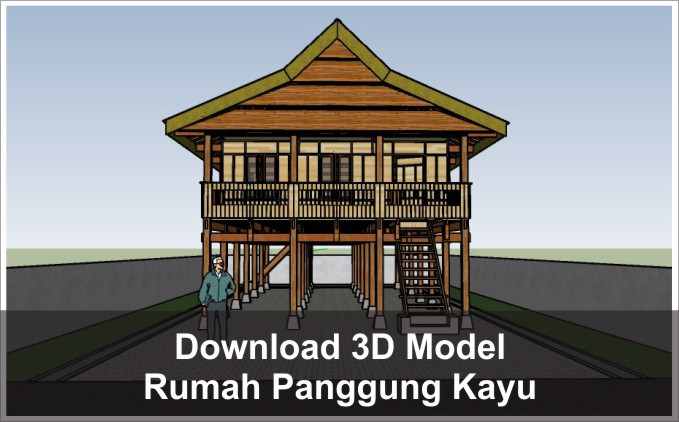 download 3d rumah panggung kayu